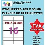 1600 étiquettes autocollantes 105 x 35 mm - 100 feuilles A4 avec 16 étiquettes adresse -105x35 Pour étiquetage domestique, ét