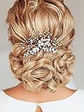 Aukmla, pettini per capelli da matrimonio con perle e strass, da sposa, accessori per capelli per donne e ragazze (colore argento).