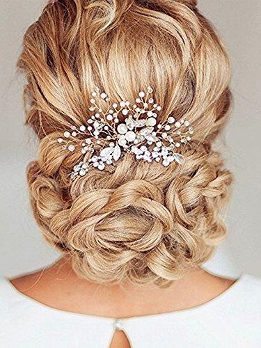 Aukmla - Peineta para boda con perlas y brillantes, accesorio para pelo de novia, para mujer y niña, color plateado