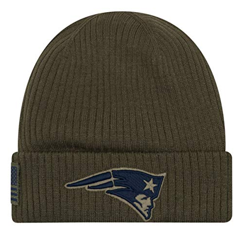 New Era New England Patriots Beanie On Field 2018 Salute to Service Knit Grün- One-Size-Fits-Most