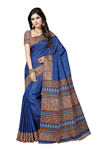 Rani Saahiba KalamKari Printed Bhagalpuri Art Silk Saree(SKR2818_Royal Blue)