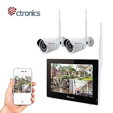"""(Touchscreen)Ctronics überwachungskamera Set 2.4G drahtloses NVR WiFi-Kamera-System mit 9"""" Touchscreen-Monitor und 2 * 720p WiFi-IP Netzwerkkamera für die Überwachung des (Erweiterte Sicherheitssystem)"""