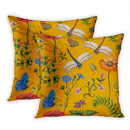 Nekkzi Cushion Covers Set of Two Print Summer Botanical Plants Insects Flowers in Vintage Butterflies Dragonflies Beetles Sofa Home Decorative Throw Pillow Cover 20x20 Inch Pillowcase Hidden Zipper -