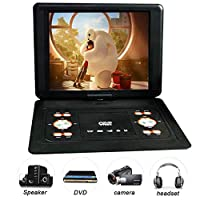"Portable DVD player, 14.1"" Mobile DVD Playe with Rechargeable Lithium Battery,270 Degree Screen Rotation Used for Watching Movie TV DVD Support VCD CD AVI CD R/RW Drive"