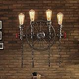 Vintage Lampe Industriell Retro Design gilt Wandlampe zu Wasserrohr in Metall und Rad Antik Wandleuchte Edison E27 Innen Dekorativ Direkt Beleuchtung für Balkon Nachttischlampe Flurlampe Bar , 4-Lampen