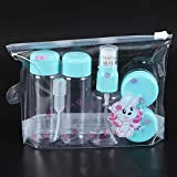 Nosii 7 Teile/Satz Reise Mini Make-Up Kosmetische Behälter Transparente Flaschen Gesichtscreme Leere Lidschatten Make-Up Flasche Lit (Color : Blau)