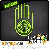Jain Hand Ahimsa 10 x 18,5 cm IN 15 FARBEN - Neon + Chrom! Sticker Aufkleber
