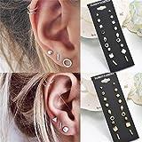 NYAOLE 9 Paar Pack Sets Kombination Karte Mehrere Ohrstecker Schmuck Set für Frauen Mädchen, Silber Farbe