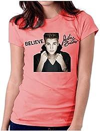 LetsFlaunt Believe Justin Bieber Salmon Women Dry-Fit Nw