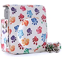 Flylther Housse pour Fujifilm Instax Mini 90 Neo Classic Appareil Photo avec Cuir PU (Paw Print, Blanc)