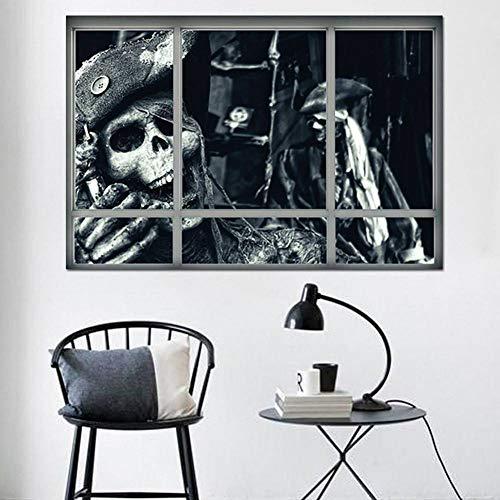 HYYDHD Happy Halloween Haushaltszimmer 3D Gefälschte Fenster Shantou Beängstigend Wandaufkleber Scrapbooking Wandbild Dekor Aufkleber