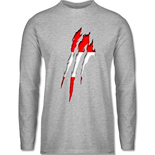 Länder - Österreich Krallenspuren - Longsleeve / langärmeliges T-Shirt für Herren Grau Meliert