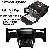 Bolsa segura de Li-Po 2 Baterías Capacidad de Batería a Prueba de Explosión de Bolso Caso de almacenamiento de protección + Fiberglass HD Protección de Película Set con 2PCS Lens Films & 2PCS Drone Cuerpo Protectores de pantalla para DJI Spark