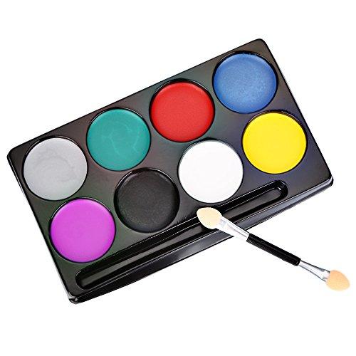 Paramita Halloween maquillaje paleta no tóxico agua maquillaje Primer paleta rostro y cuerpo panit 8Color Paleta Set con maquillaje brush- básica