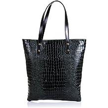 FIRENZE ARTEGIANI.Bolso shopping bag de mujer piel auténtica.Bolso mujer cuero genuino serpiente