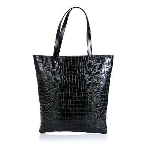 Firenze ARTEGIANI.Bolso Shopping Bag de Mujer Piel auténtica.Bolso Mujer Cuero Genuino Serpiente...