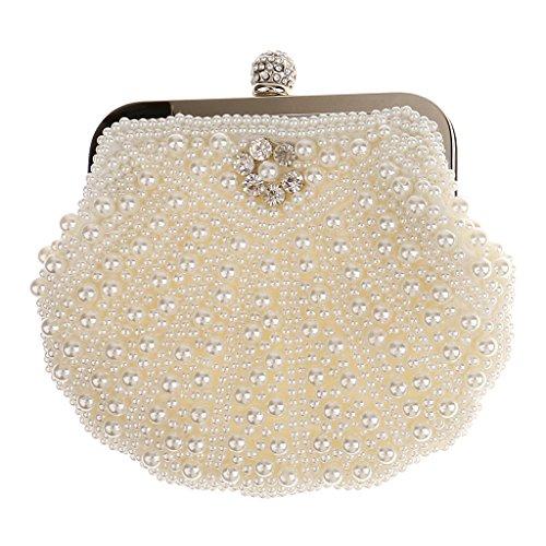 Phenovo Donna Conchiglia Perline Sacchetto Pochette da Giorno Tracolla Borsa Sera Borsetta per Nozze Prom Cocktail Partito