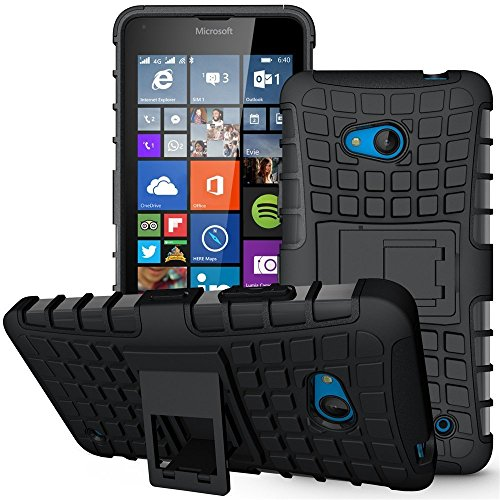 KolorFish KickStand Hybrid Dual Layer Armor Protective Case Cover for Microsoft Nokia Lumia 640 - Black