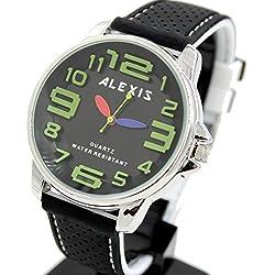 10fw939C rund PNP glänzend Silber Watchcase Silikon Schwarz Band Alexis Fashion Armbanduhr