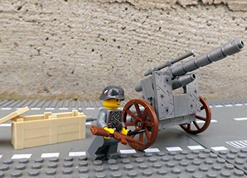 Modbrix 50111 - ✠ Bausteine Panzer Abwehrkanone PAK Stellung inkl. custom Wehrmacht Soldat ✠ thumbnail
