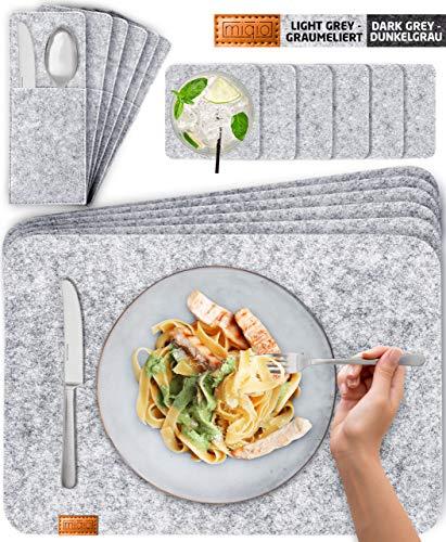 Miqio® Design Filz Tischset abwaschbar | Mit Marken Echtleder Label | 18er Set - 6 Platzsets abwaschbar, Glasuntersetzer, Bestecktaschen | grau meliert | Filzmatte Platzdeckchen abwischbar