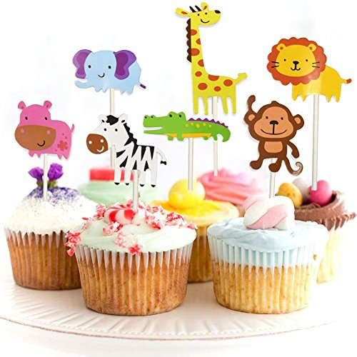 �ßer Zoo/Dschungel-Themed Tier Kuchendeckel Topper für Kinder Baby Party Geburtstag Party Kuchen Dekoration Supplies Löwe Nilpferd AFFE Elefant Zebra Giraffe Krokodil ()