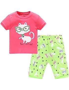 Hugbug Mädchen Schlafanzug kurz mit Katze 2-7 Jahre