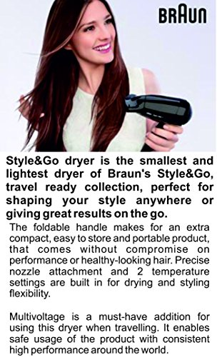 Braun Satin Hair 1 - HD 130 - Lightest Style & Go Travel Dryer