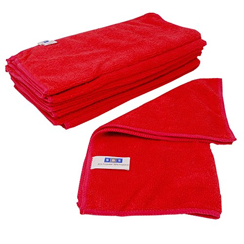SBS Microfasertücher 10 Stück wählbar 40 x 40cm Rot