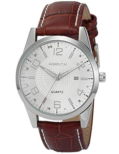 Agent X Herren Armbanduhr Quarzuhr mit Schwarze Armband aus Leder AGX004 (Reden Sie Datum Und Zeit, Uhr)