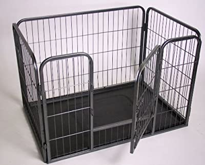 X-Treme Puppy Run Enclosure with Bottom Tray, Powder-Coated Grid Bars