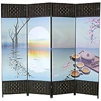 Biombo Zen, fotoimpresión sobre lienzo reforzado, montado sobre bastidores de madera y Bambú.