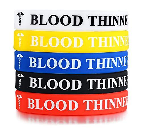 Vnox 5 Stück Silikonkautschuk Blood THINNER Medical Alert Awareness ID Armband Notfall Armband, 5 Farben (Medical Alert)