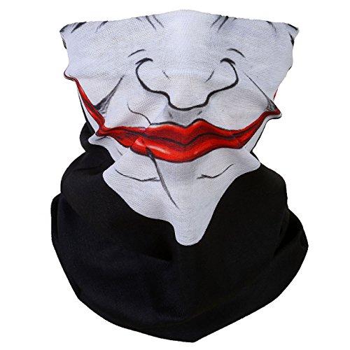 ACBungji Multifunktionstuch Gesichtsmaske Motorradmaske Sturmmaske Maske für Motorrad Ski Snowboard Snowboard Paintball Fahrrad Bergsteigen Trekking Skateboarden Angeln Skull Halloween Clown 61611