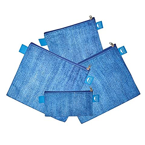 Nordic By Nature Cool Premium Blue Denim Pattern Reusable Sandwich & Snack bags   Designer Set of 4 Pack   Resealable, Reusable and Eco Friendly Dishwasher Safe Lunch Bags   Functional Easy Open Zipper   Can Be Used With Food, In Between Meals Snacks, Makeup, Toys, jewelry or Similar   Great Value For Money.