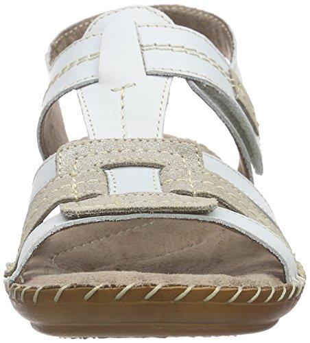 Jana - 28109, Scarpe col tacco con cinturino a T Donna Bianco (bianco (White 100))