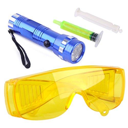 beler Auto 14 LED Taschenlampe Sicherheitsgläser mit Fluoreszent Öl Klimaanlage UV Lampe Lecksuche Satz