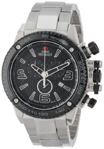swiss-precimax-mens-sp13246-forge-pro-black-dial-with-silver-stainless-steel-band-watch