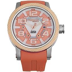 technosport Frauen TS6-3000-9Coral Silikon Band Armbanduhr, Edelstahl Lünette und Koralle Zifferblatt
