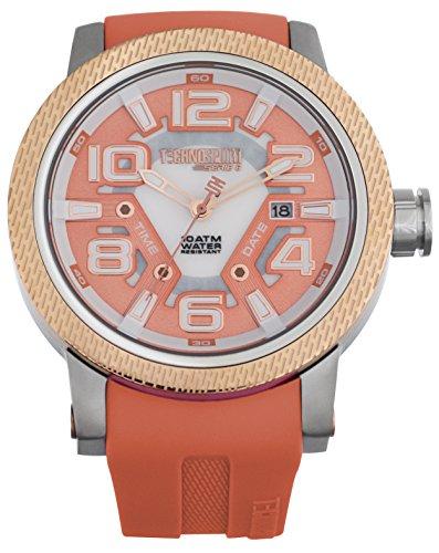 technosport-femmes-ts6-3000-9-corail-en-silicone-bande-montre-cadran-en-acier-inoxydable-lunette-et-
