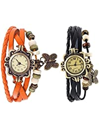 GOBU Fancy Leather Bracelet Butterfly Vintage Watch - Combo Offer Set Of 2 For Women & Girls (Orange & Black )