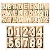 WOWOSS 180 Pezzi 180 Lettere e Numeri in Legno Naturale - 5 Set di Lettere Maiuscole e Numeri da 0 a 9 per insegnamenti di Bambini o Decorazioni Creative di casa