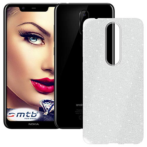 mtb more energy® TPU Hülle Shine für Nokia 5.1 Plus | 5.1+ (5.86'') | Silber | Glitzer-Effekt | flexibel | Schutzhülle Case Cover Tasche