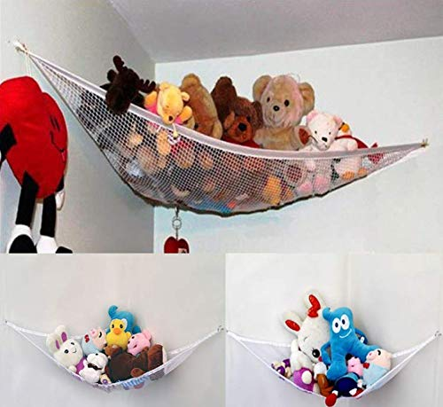 Toy Hammock Corner Stuffed Animal Toy Organiser Storage Net Multi-Purpose Nursery Organisers Large Hammock for Baby/Children's Bedroom Stuffed Animals, Plush Toys, Dolls, Teddies, Balls Qchomee ❤PERFECT STORAGE SOLUTION - Children's stuffed animals can easily take over their bed, bedroom, and playroom, parents need an easy storage solution. The Toy Hammock is a novel toy way to hold and organize kids' toys, pillows, stuffed animals, and other items, in an attractive way that becomes part of the décor. ❤EASY TO INSTALL - Includes 3 hooks to fit any corner, it can be attach to any kind of wall. The hook hardware included in the package to make it easy to install, uninstall and reinstall in any other space of your house if you feel like it. ❤FOR ANY ROOM - Suitable For Use as LAUNDRY, MUDROOM, POOL SIDE, GARAGE, SPORTS GEAR, DAYCARE or SCHOOL ROOM Corner Wall Organizer. You Can Hang Two or More Units at Different Heights Creating a Stackable Storage Shelf System That FACILITATES AIR CIRCULATION AND VENTILATION for Whatever Stuff You Choose to Store. 2