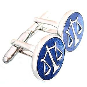 Unbekannt Juristen Manschettenknöpfe Jura Justitia Symbol für Gerechtigkeit blau silbern + Silberbox