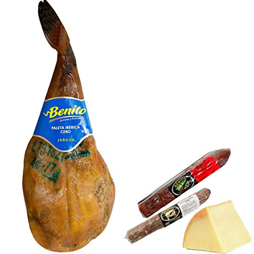 Lote Paletilla iberica Jabugo 4-4,5 kgs + queso + embutidos