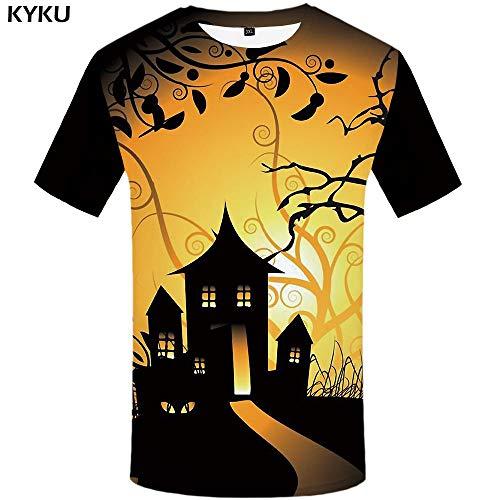 KYKU Halloween T-Shirt Männer 3D Kürbis T-Shirt Hip Hop T Bat Mond Druck T-Shirt Streetwear Schwarz Anime Herren Kleidung Sommer Tops