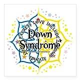 "CafePress–down-syndrome-lotus-2009cuadrado adhesivo 3""x 3–cuadrado pegatina para coche de vinilo, 3"" x3""(pequeño) o 5"" x5""(grande), Blanco, Small - 3x3"
