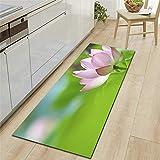 Mengjie Modern Küchenläufer Grüner Lotus 7MM Dicke Küchenmatten Schlafzimmer Teppich Anti-Müdigkeit Fußmatten,40x120CM