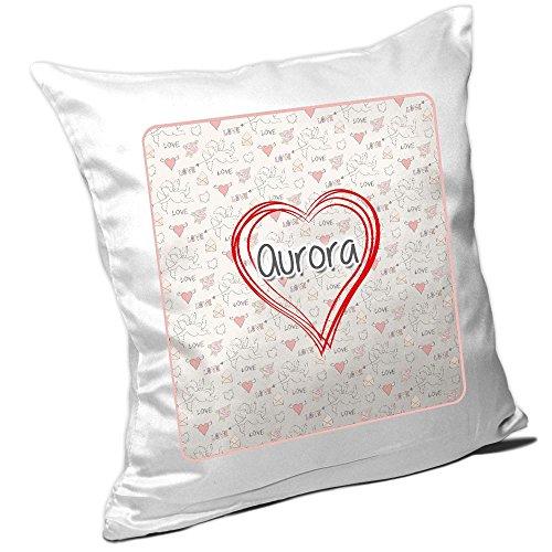 Aurora Kissen (Kissen mit Namen Aurora und schönem Herz mit vielen Liebes-Symbolen zum Valentinstag - Namenskissen - Kuschelkissen - Schmusekissen)